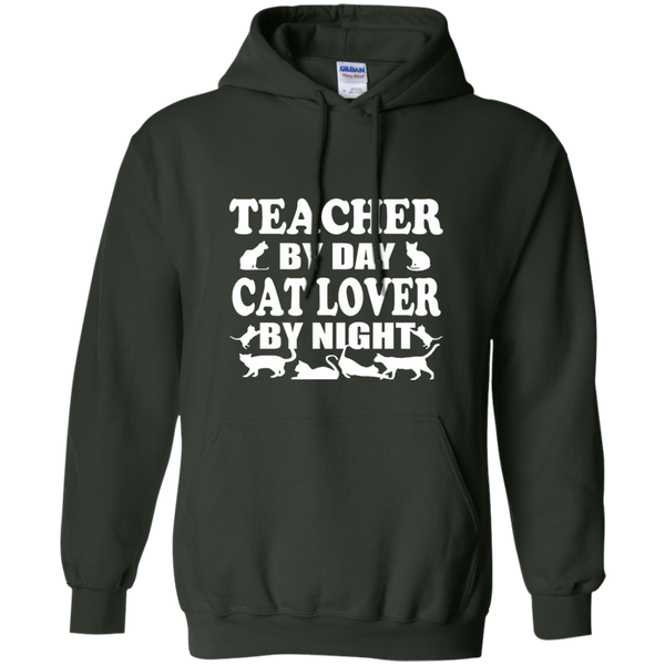 Teacher by Day Cat Lover by Night Pullover Hoodie 8 oz - TeachersLoungeShop - 6