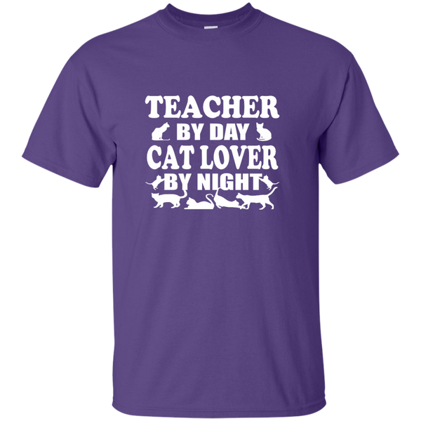 Teacher by Day Cat Lover by Night Cotton T-Shirt - TeachersLoungeShop - 5