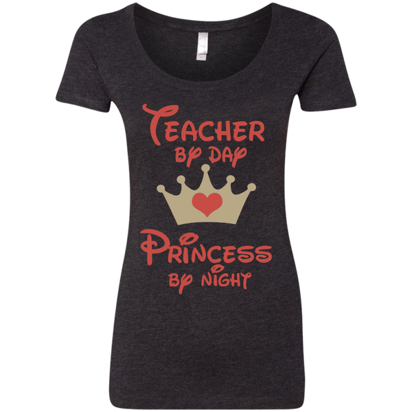 Teacher by Day Princess by Night Next Level Ladies Triblend Scoop - TeachersLoungeShop - 4