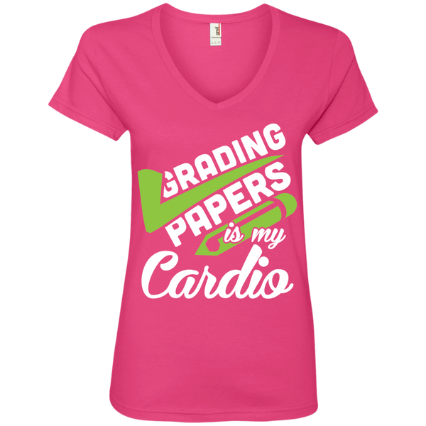 Grading papers is my cardio  Ladies' V-Neck Tee - TeachersLoungeShop - 2