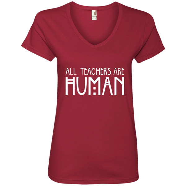 All Teachers Are Human Ladies' V-Neck Tee - TeachersLoungeShop - 3