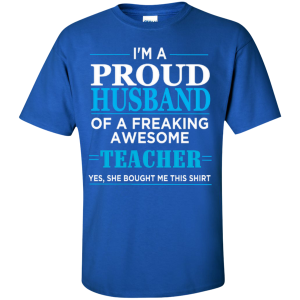 I'm a Proud Husband of a Freaking Awesome Teacher T-shirt Hoodie - TeachersLoungeShop - 2