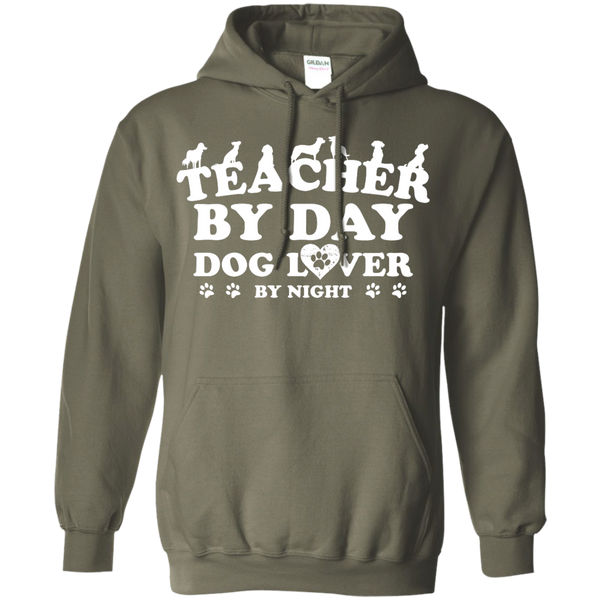 Teacher By Day Dog Lover by Night  Hoodie 8 oz - TeachersLoungeShop - 8