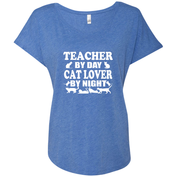 Teacher by Day Cat Lover by Night Next Level Ladies Triblend Dolman Sleeve - TeachersLoungeShop - 8