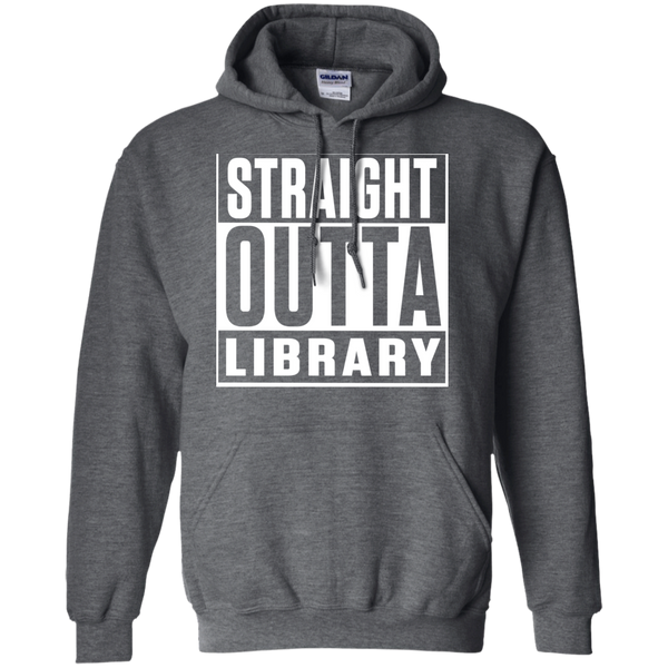 Straight Outta Library  Hoodie 8 oz - TeachersLoungeShop - 3