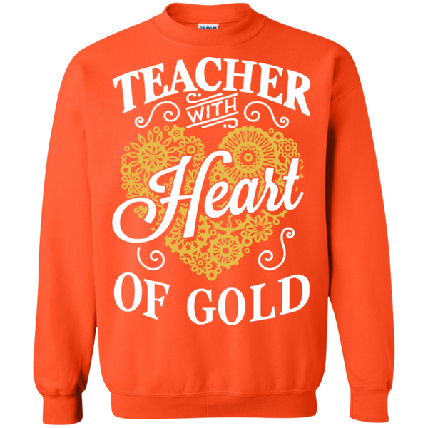 Teacher with Heart of Gold  Crewneck Pullover Sweatshirt  8 oz - TeachersLoungeShop - 6
