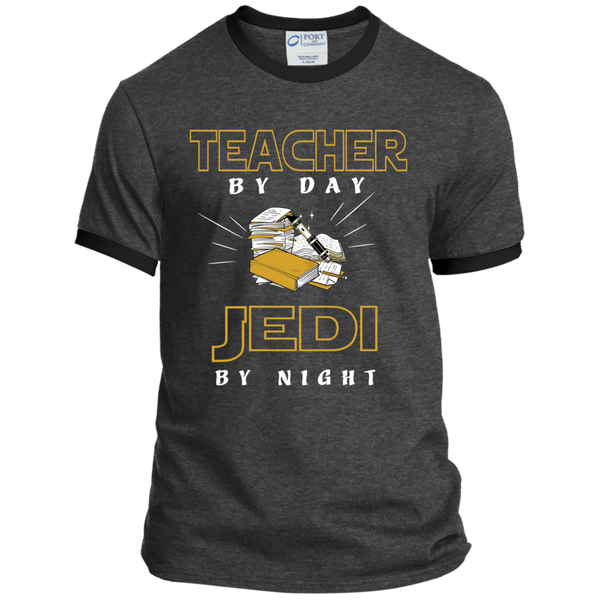 Teacher By Day Jedi By Night Ver2 Ringer Tee - TeachersLoungeShop - 2