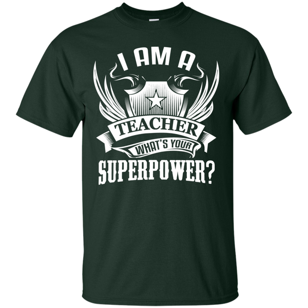 I am a Teacher what's your Superpower  Cotton T-Shirt - TeachersLoungeShop - 2