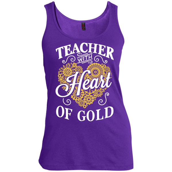 Teacher with Heart of Gold  Scoop Neck Tank Top - TeachersLoungeShop - 4