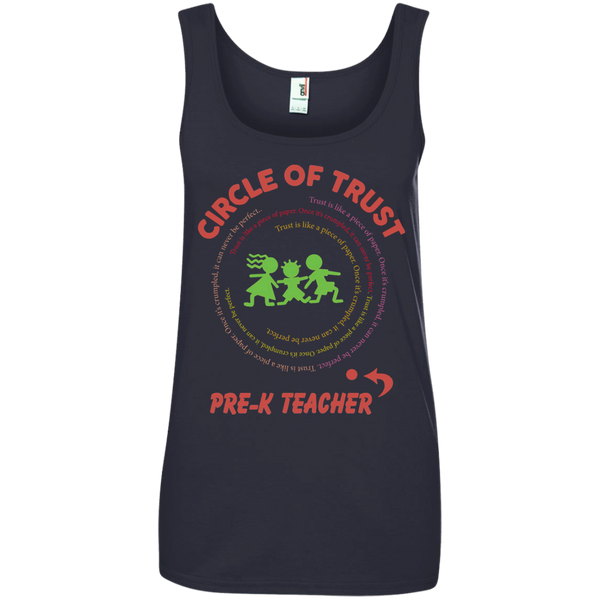 Circle of Trust Pre K Teacher Ladies' 100% Ringspun Cotton Tank Top - TeachersLoungeShop - 2