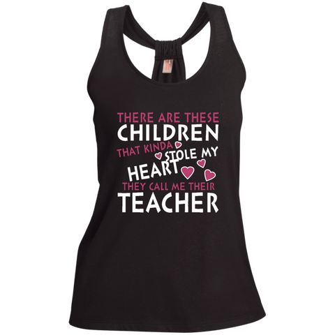 There are these Children that Kinda Stole My Heart They call Me Their Teacher Ladies Shimmer Loop Back Tank - TeachersLoungeShop