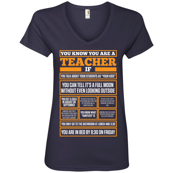 You know You are a Teacher if  Ladies ' V-Neck Tee - TeachersLoungeShop - 2