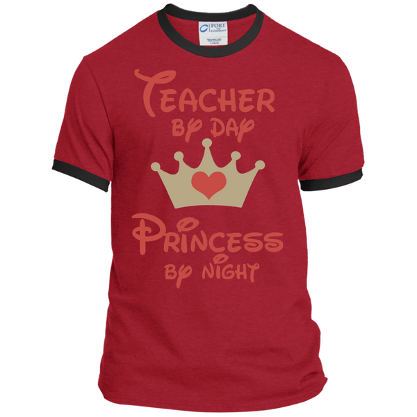Teacher by Day Princess by Night Ringer Tee - TeachersLoungeShop - 10