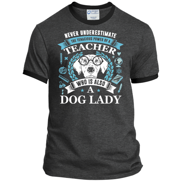 Never Underestimate the Tenacious Power of a Teacher who is also a Dog Lady Ringer Tee - TeachersLoungeShop - 3