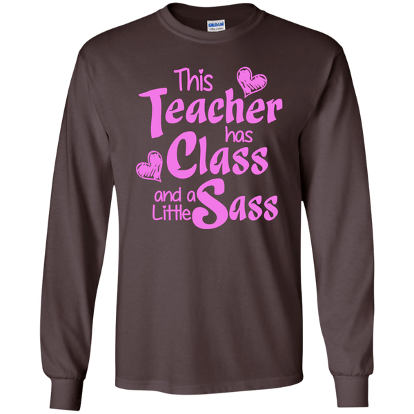 This Teacher has Class and a Little Sass LS Ultra Cotton Tshirt - TeachersLoungeShop - 6