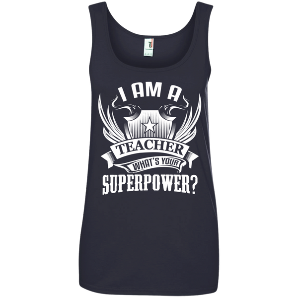 I am a Teacher what's your Superpower  Ladies' 100% Ringspun Cotton Tank Top - TeachersLoungeShop - 3