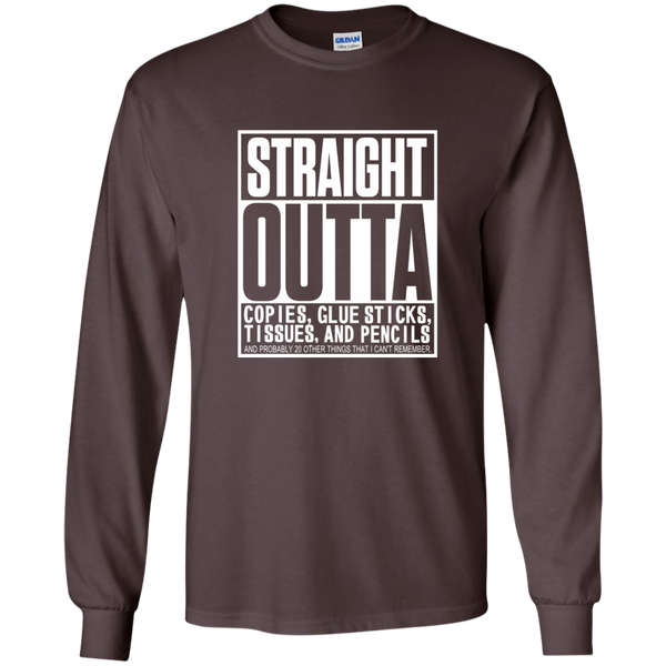 Straight Outta Copies Glue Sticks Tissues and Pencils LS Ultra Cotton Tshirt - TeachersLoungeShop - 3