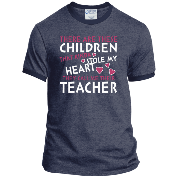 There are these Children that Kinda Stole My Heart They call Me Their Teacher Ringer Tee - TeachersLoungeShop - 5