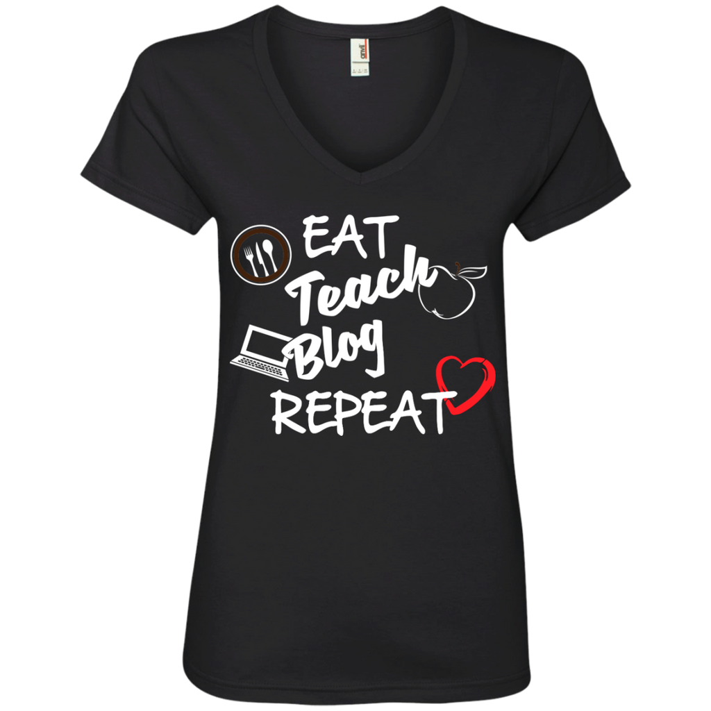Eat Teach Blog Repeat Ladies  V-Neck Tee - TeachersLoungeShop - 1