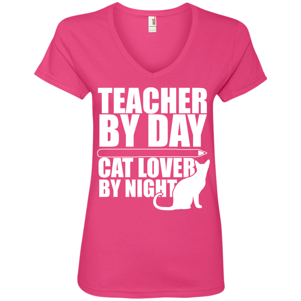 Teacher by Day Cat Lover by Night V-Neck Tee - TeachersLoungeShop - 2