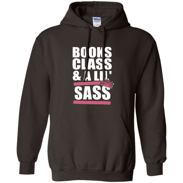 Books Class and A Little Sass Pullover Hoodie 8 oz - TeachersLoungeShop - 5