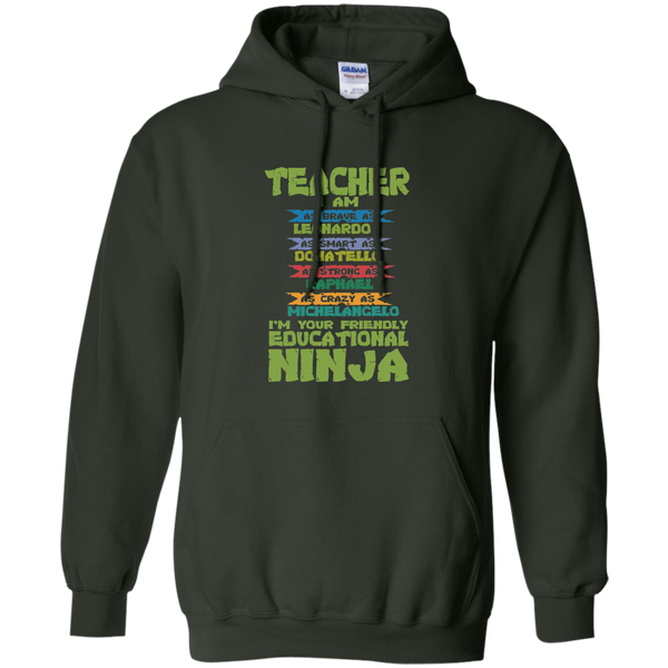 Teacher I'm Your Friendly Educational Ninja Pullover Hoodie 8 oz - TeachersLoungeShop - 6