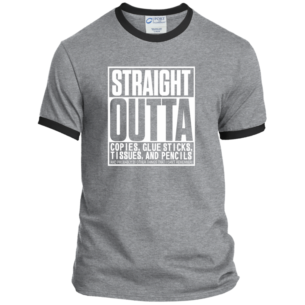 Straight Outta Copies Glue Sticks Tissues and Pencils Ringer Tee - TeachersLoungeShop - 1
