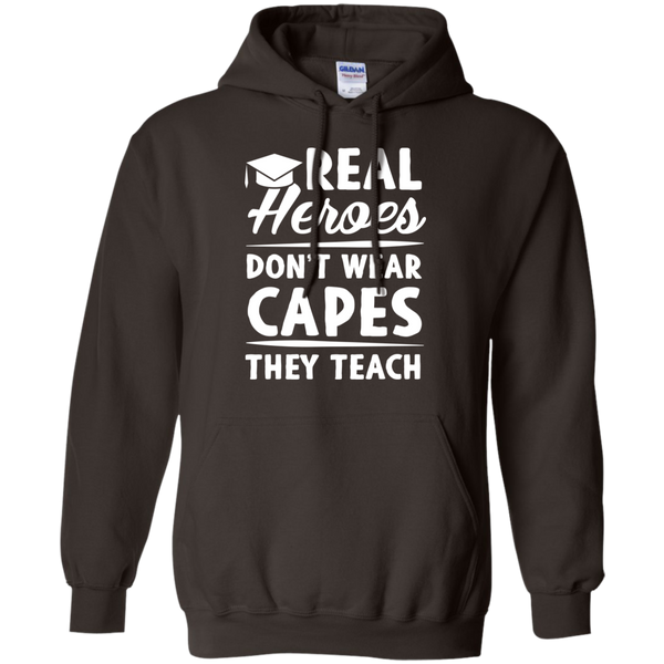 Real Heroes Dont wear capes They Teach   Hoodie 8 oz - TeachersLoungeShop - 6