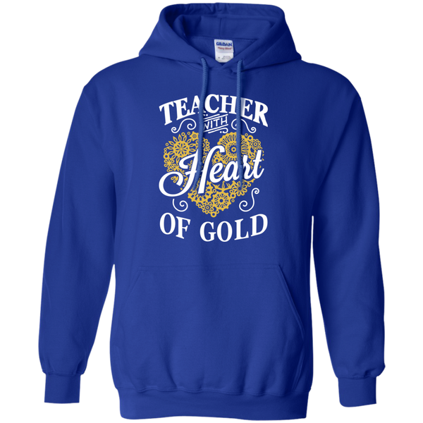 Teacher with Heart of Gold  Hoodie 8 oz - TeachersLoungeShop - 12