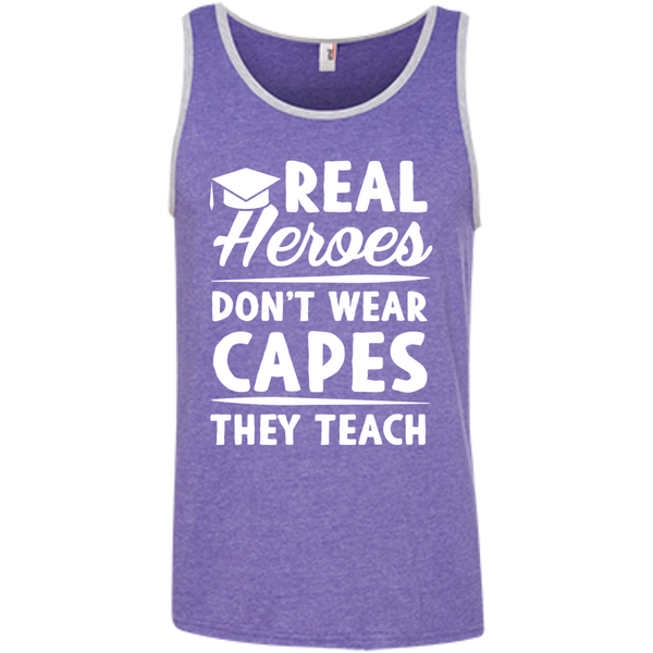 Real Heroes Dont wear capes They Teach  100% Ringspun Cotton Tank Top - TeachersLoungeShop - 4