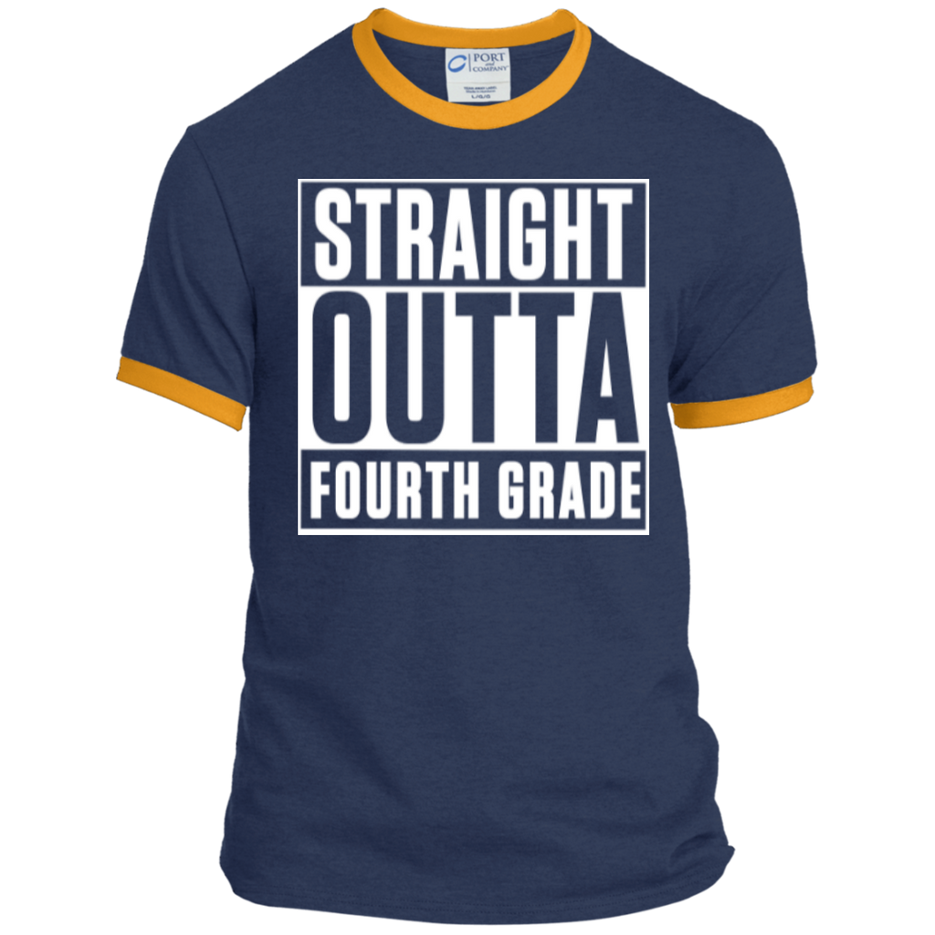 Straight Outta Fourth Grade  Ringer  Tee - TeachersLoungeShop - 1