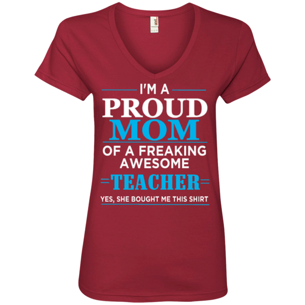 Proud Mom of Freaking awesome Teacher Ladies' V-Neck Tee - TeachersLoungeShop - 3