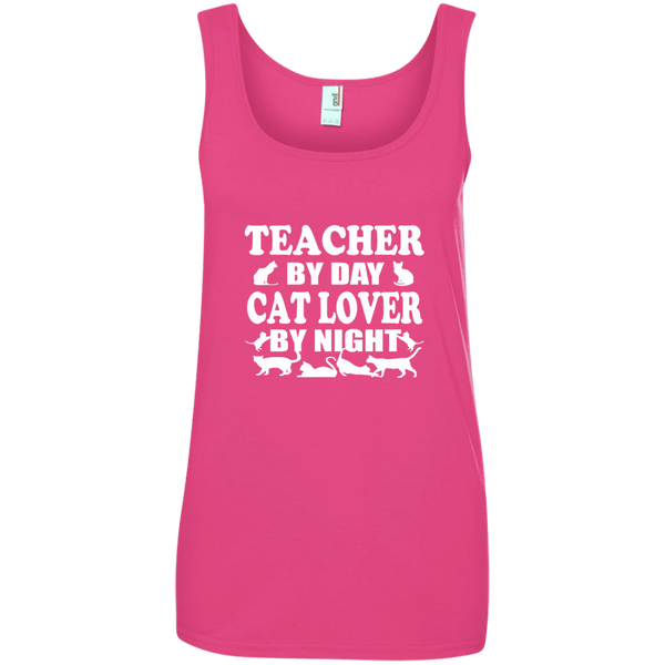 Teacher by Day Cat Lover by Night Ladies' 100% Ringspun Cotton Tank Top - TeachersLoungeShop - 4