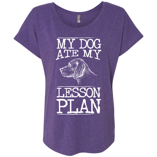 My Dog Ate my Lesson Plan  Next Level Ladies Triblend Dolman Sleeve - TeachersLoungeShop - 2