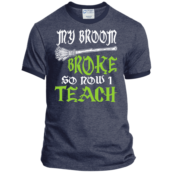 My Broom Broke So Now I'm a Teacher Ringer Tee - TeachersLoungeShop - 4