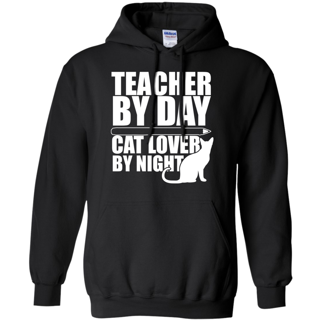 Teacher by Day Cat Lover by Night Hoodie 8 oz - TeachersLoungeShop - 1