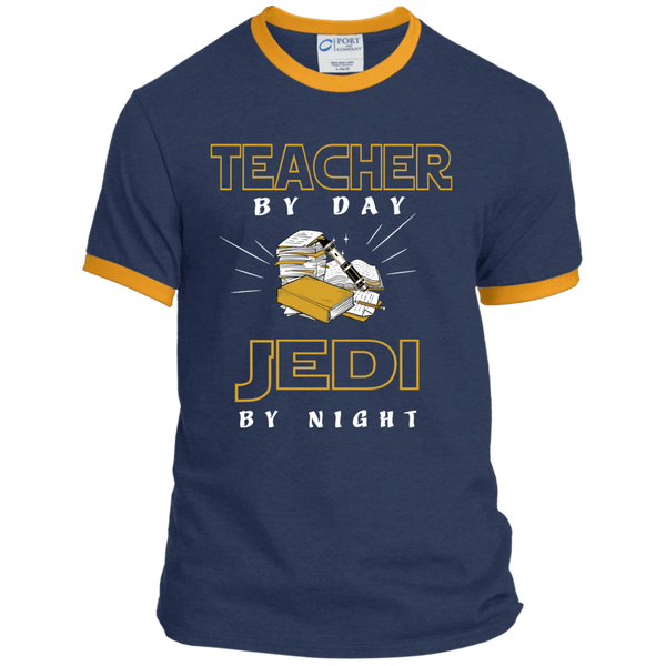 Teacher By Day Jedi By Night Ver2 Ringer Tee - TeachersLoungeShop - 1