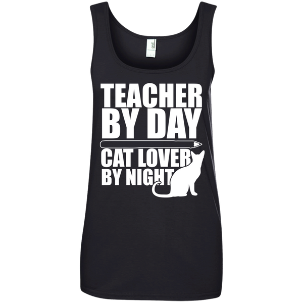 Teacher by Day Cat Lover by Night 100% Ringspun Cotton Tank Top - TeachersLoungeShop - 1