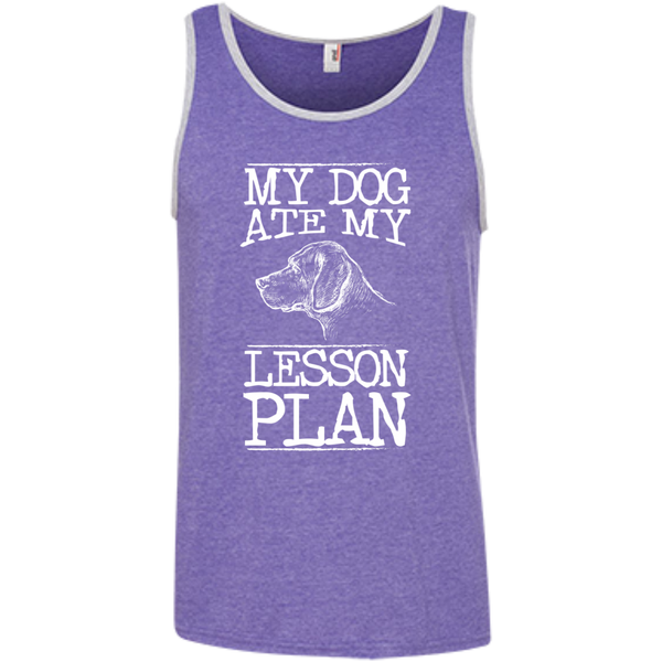 My Dog Ate my Lesson Plan  100% Ringspun Cotton Tank Top - TeachersLoungeShop - 3