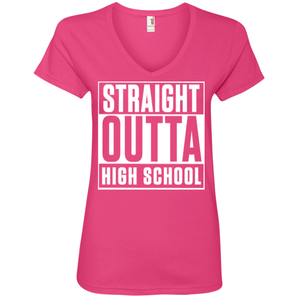 Straight Outta High School  Ladies  V-Neck Tee - TeachersLoungeShop - 2