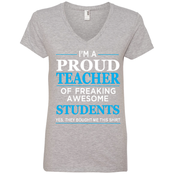 I'm a Proud Teacher of Freaking Awesome Students Ladies' V-Neck Tee - TeachersLoungeShop - 2