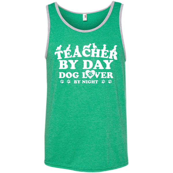 Teacher By Day Dog Lover 100% Ringspun Cotton Tank Top - TeachersLoungeShop - 3