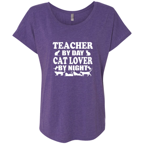 Teacher by Day Cat Lover by Night Next Level Ladies Triblend Dolman Sleeve - TeachersLoungeShop - 2