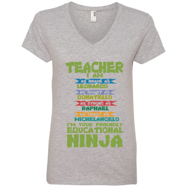 Teacher I'm Your Friendly Educational Ninja Ladies' V-Neck Tee - TeachersLoungeShop - 2