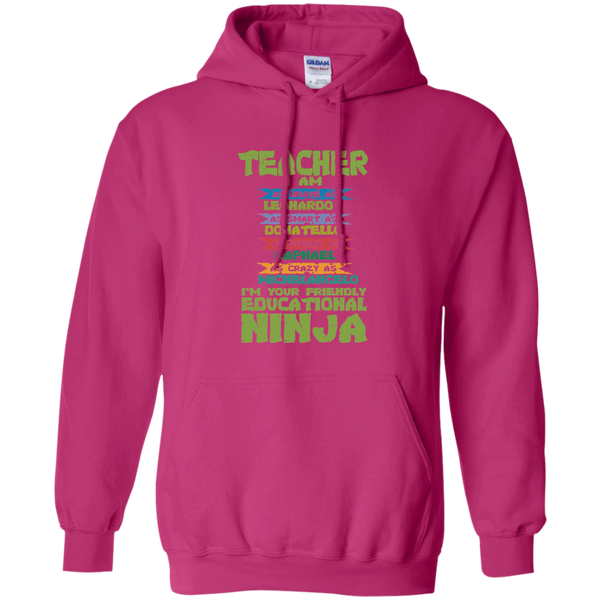 Teacher I'm Your Friendly Educational Ninja Pullover Hoodie 8 oz - TeachersLoungeShop - 7