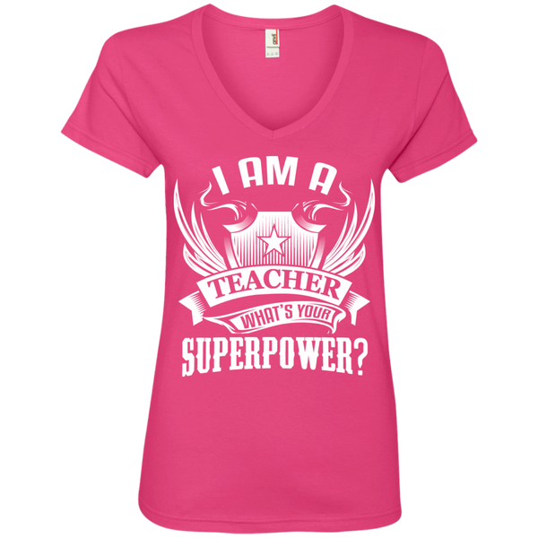 I am a Teacher what's your Superpower Ladies  V-Neck Tee - TeachersLoungeShop - 2