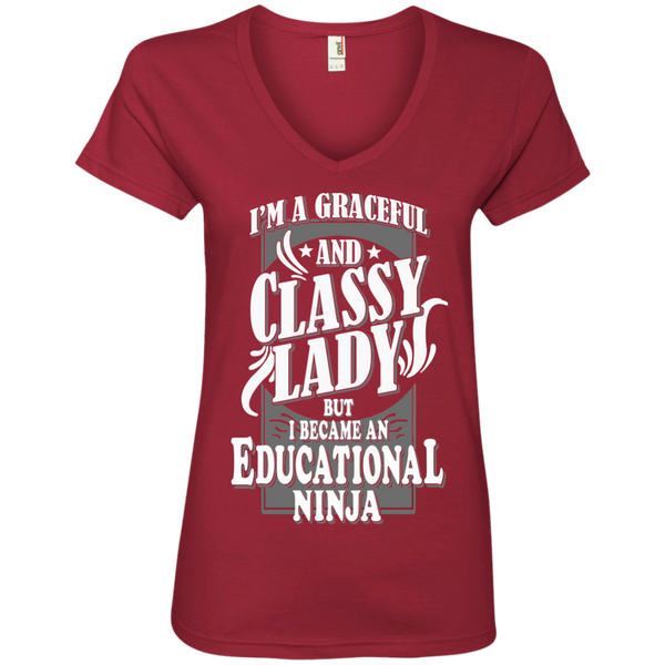I'm a Graceful and Classy Lady but I became an Educational Ninja Ladies' V-Neck Tee - TeachersLoungeShop - 3