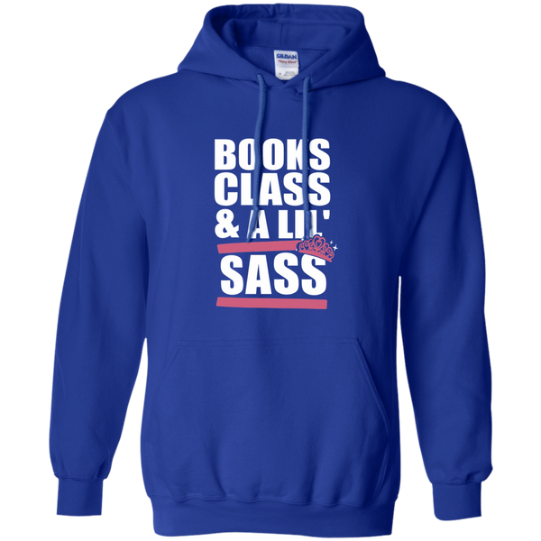 Books Class and A Little Sass Pullover Hoodie 8 oz - TeachersLoungeShop - 3
