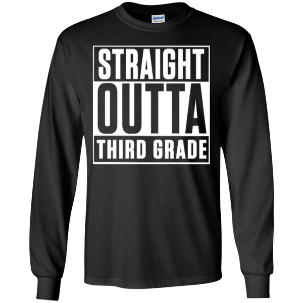 Straight Outta Third Grade LS Cotton Tshirt - TeachersLoungeShop - 1