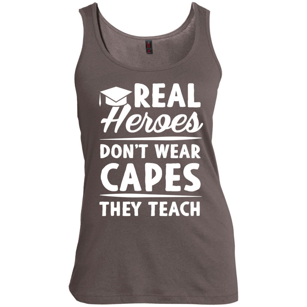 Real Heroes Dont wear capes They Teach  Women's  Scoop Neck Tank Top - TeachersLoungeShop - 1